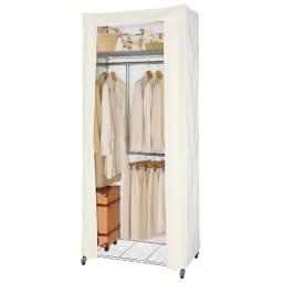 洗えるカバー付き 頑丈ハンガーラック 2段掛けハイタイプ・幅91cm 上下2段掛けタイプはロング丈のコートと丈の短いジャケット、パンツをバランスよく収納できます。2段掛けハンガー部は高さと幅が調節できます。