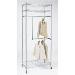 洗えるカバー付き 頑丈ハンガーラック 2段掛けハイタイプ・幅91cm カバーを外してもご使用いただけます。