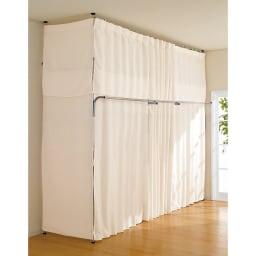 奥行79cm 上下カーテン付き突っ張り頑丈ハンガーラック ハイタイプ・【ワイド】幅260~340cm対応 片側を壁付けせずに使う場合は、別売りのサイドカーテンがおすすめ。ご家庭の洗濯機で洗えます。