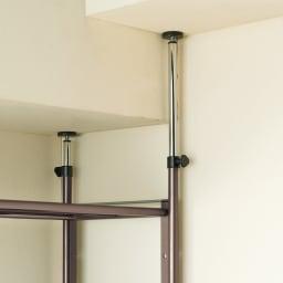 頑丈フレキシブル伸縮ラック 突っ張り式・幅83~125cm 突っ張り部分は4本別々につっぱれるので、梁のある天井でも設置ができます。