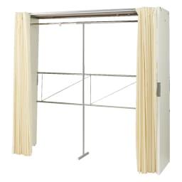 部屋に合わせてコーディネート カーテン取り替え自在ハンガー 棚なしタイプ 幅188~305cm (ア)ホワイト サイドパネルは金具で上下連結します