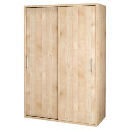 【オシャレな北欧風デザイン】天然木調 引き戸クローゼットハンガー 幅120cm (ア)ナチュラル