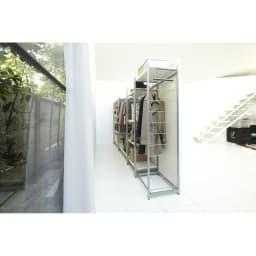 手軽に間仕切り パネル収納ハンガーラック 「ミラータイプ」 ハンガー1段棚1枚・幅120cm (表面)