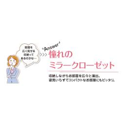 【日本製】シンプルスタイルワードローブ収納システム ハンガー幅77.5cm 部屋を広く見せる収納におすすめな「ミラー扉」 クローゼットのように収納力はたっぷりなのに圧迫感なく収納空間が実現します。姿見としても活躍します。