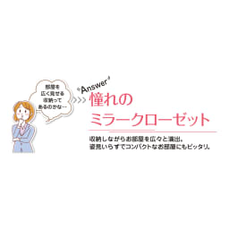 【日本製】シンプルスタイルワードローブ上置き(高さ1cm単位オーダー) 幅39cm(左) 奥行26cmタイプ(梁よけ対応) 部屋を広く見せる収納におすすめな「ミラー扉」 クローゼットのように収納力はたっぷりなのに圧迫感なく収納空間が実現します。姿見としても活躍します。