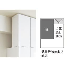 【日本製】シンプルスタイルワードローブ上置き(高さ1cm単位オーダー) 幅57.5cm 奥行26cmタイプ(梁よけ対応) 【梁前のスペースを有効活用!】奥行26cmの上置きは、最大奥行30cmまでの梁を避けて設置できます。