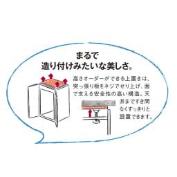 【日本製】シンプルスタイルワードローブ オーダー上置き 幅39cm(右開き) 奥行56cmタイプ