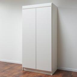 必要な時だけ引き出せるちょいかけハンガー付きクローゼット ハンガー1段可動棚2枚 幅80cm (ア)ホワイト