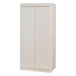 必要な時だけ引き出せるちょいかけハンガー付きクローゼット 棚7段 幅80cm (ア)ホワイト