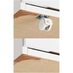 奥行46cmキャスター付きツヤツヤチェスト 幅100cm・5段 キャスターを外しても使用可能。
