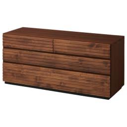 天然木横格子柄のローチェスト 幅120cm・3段 商品画像
