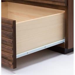 天然木横格子柄のローチェスト 幅120cm・3段 スライドレール付き(最上段除く)
