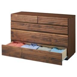 天然木横格子柄のローチェスト 幅120cm・4段 商品画像