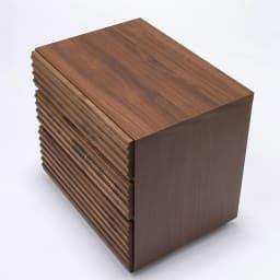 天然木横格子柄のローチェスト 幅120cm・4段 天板は木目調の強化シート貼り