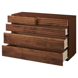 天然木横格子柄のローチェスト 幅120cm・4段 引き出しを開けた状態