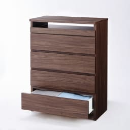 テレワークにもおすすめ スライドテーブル付きチェスト 幅60cm・奥行34.5cm (ア)ダークブラウン