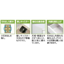 【日本製】奥行50cm隠しキャスター付きクローゼットチェスト 幅80cm・3段 機能説明