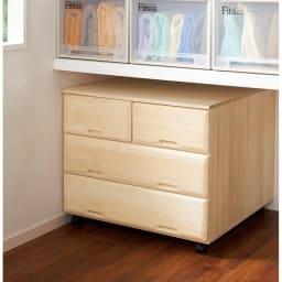 【衣類に優しい押し入れ収納】総桐スライドレール押入3段 ワイド75 ※写真は高さ64cmタイプです。