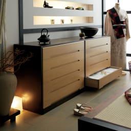 【日本製】総桐モダンクローゼットチェスト 4段 高さ65cm ≪組合せ例≫ ※写真は5段タイプ×2です。