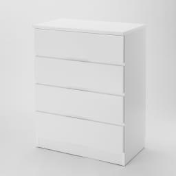 ぴったりサイズが見つかるフルスライドレールチェスト 4段 高さ89.5cm・幅70cm (イ)ホワイト