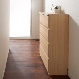 幅1cm単位サイズオーダーチェスト 奥行45cm・4段(高さ87.5cm)幅25~100cm 廊下置き収納として。(イ)ライトアッシュ