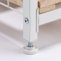 頑丈幅伸縮すのこ布団台シリーズ 押し入れ上段用棚2段 足元は付属のアジャスターでも、設置できます。