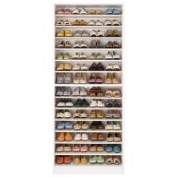前面ミラー&板戸シューズボックス ハイタイプ・幅75.5 高さ180cm 収納イメージ