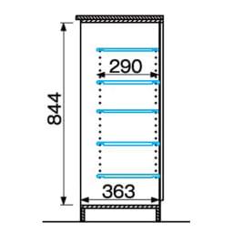 インテリアに合わせて8色&13タイプから選べるシューズボックス 幅45高さ95.5cm(右開き) 詳細図(単位:mm)