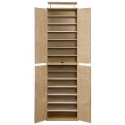 並べても使える 突っ張り式ユニットシューズボックス 天井高さ254~264cm用・幅60cm[紳士靴対応] (イ)ライトブラウン色見本 可動棚板は全部で12枚です。