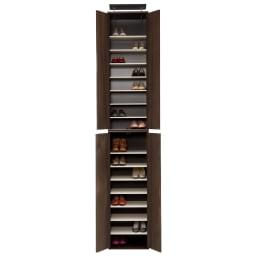 並べても使える 突っ張り式ユニットシューズボックス 天井高さ264~274cm用・幅45cm[紳士靴対応] (ア)ダークブラウン ※写真は幅45高さ264~274cmタイプです。