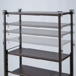 玄関の段差対応伸縮シューズラック 突っ張り式 11段 突っ張り棒部にも収納が可能な可動式の棚板付き。