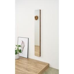 壁掛けなのに角度が変えられる 玄関ミラー (姿見) 幅20cm・高さ120cm (イ)ブラウン ミラー収納時 ※写真は高さ150cmタイプです。