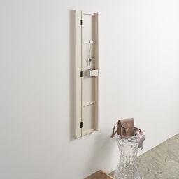 壁掛けなのに角度が変えられる 玄関ミラー (姿見) 幅20cm・高さ120cm ミラー180度開き時