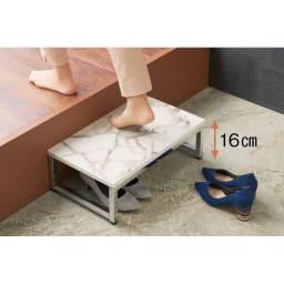 大理石柄 玄関ベンチ&踏み台 お得なセット 踏み台なら框越えもラクラク。