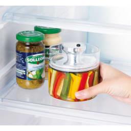 フェリオ密閉保存ガラス容器4個セット スリムなので冷蔵庫にも。