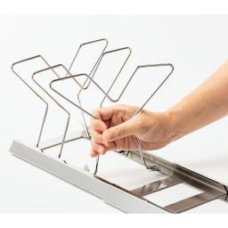 NEW引き出し用伸縮フライパン&鍋ラック 仕切りパーツは配置自由。