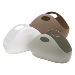 ENOTS/エノッツ インテリアバッグ バスケット 3個セット 左から時計回りにホワイト、ブラウン、グレー ※お届けは同色3個セットです。
