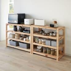 国産杉の飾るキッチンシリーズ キッチンラック・ロー 幅89奥行51cm