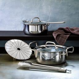 ジオ鍋2点セット特典付き 片手鍋18cm 両手鍋20cm dinos特典!蒸し台、トング付き。