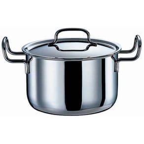 IH対応 服部先生のステンレス7層構造鍋「ジオ」 深型両手鍋径20cm 写真