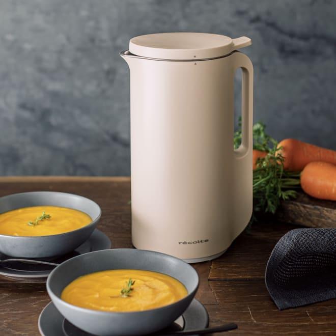 recolte レコルト ソイ&スープブレンダー スープメーカー(豆乳メーカー) (ア)クリームホワイト(ベージュ系) [SOUP/PASTE モード] 25~30分間、加熱と撹拌を繰り返すことで、スープやペースト食が完成。