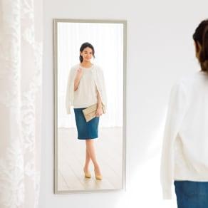 幅35×高さ125cm 割れないミラー 額装風 樹脂フレーム 写真
