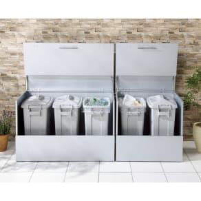 大きく開くガルバ製ゴミ保管庫 幅69奥行55cm ペール2個付き 写真