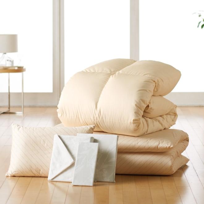 ダニゼロックお得な羽毛布団完璧セット(布団+カバー) 敷布団用 (オ)布団&枕:ベージュ/カバー:花柄グレー 布団&枕はブルーとベージュ、カバーは6色からお選びください。 ※羽毛布団はアイボリーのみ