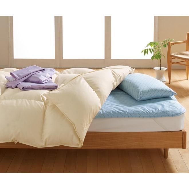 ダニゼロックお得な羽毛布団完璧セット(布団+カバー) ベッド用 (ア)布団&枕:ブルー/カバー:ラベンダー 布団&枕はブルーとベージュ、カバーは6色からお選びください。 ※羽毛布団はアイボリーのみ