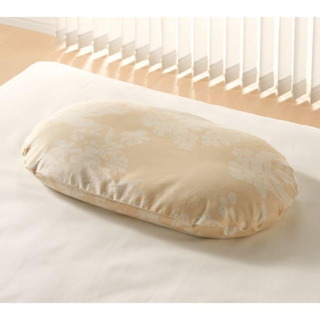 枕(綿100%生地の新ダニゼロック カバー付き) (ア)花柄ベージュ(ダニゼロックカバー付)