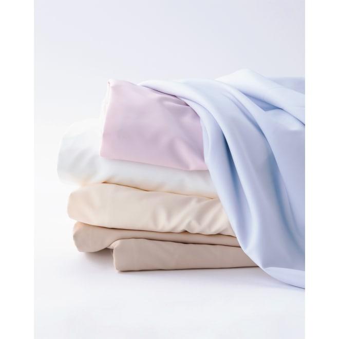アンチストレス(R) ベッドシーツ 上から(エ)ブルー(オ)ピンク(ア)ホワイト(イ)アイボリー(ウ)ベージュ