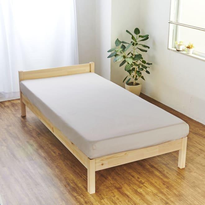 スーピマ超長綿を贅沢に使用したサテン織り  ベッドシーツ (イ)ベージュ