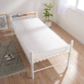 コンセント付き抗菌樹脂すのこベッド ミドルタイプ ポケットコイルマットレス付き幅97長さ195高さ19cm 写真