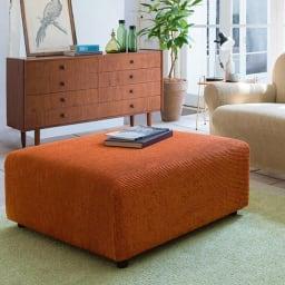 スペイン製カバー[ノエミ] ソファカバー オットマンカバー コーディネート例(オ)オレンジ ※写真は大タイプです。